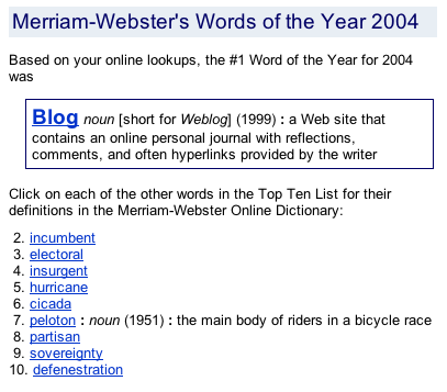 Merriam-Webster's Word of the Year 2004