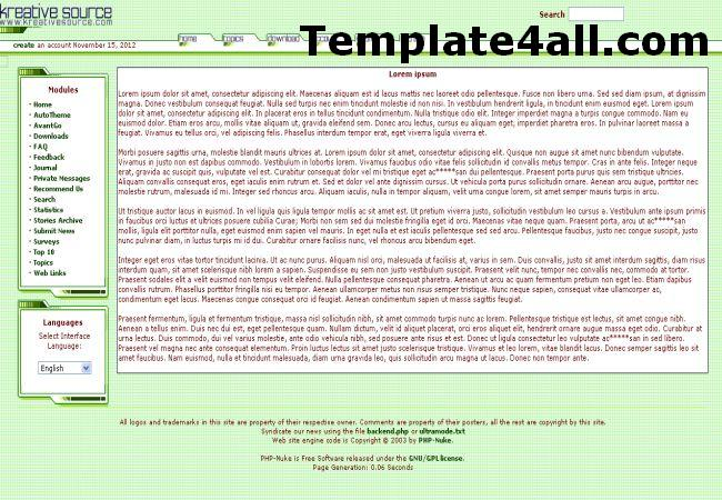 Soft Light Green Phpnuke Theme Template