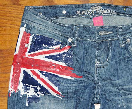 Inspiração Union Flag (bandeira do Reino Unido) - calça jeans