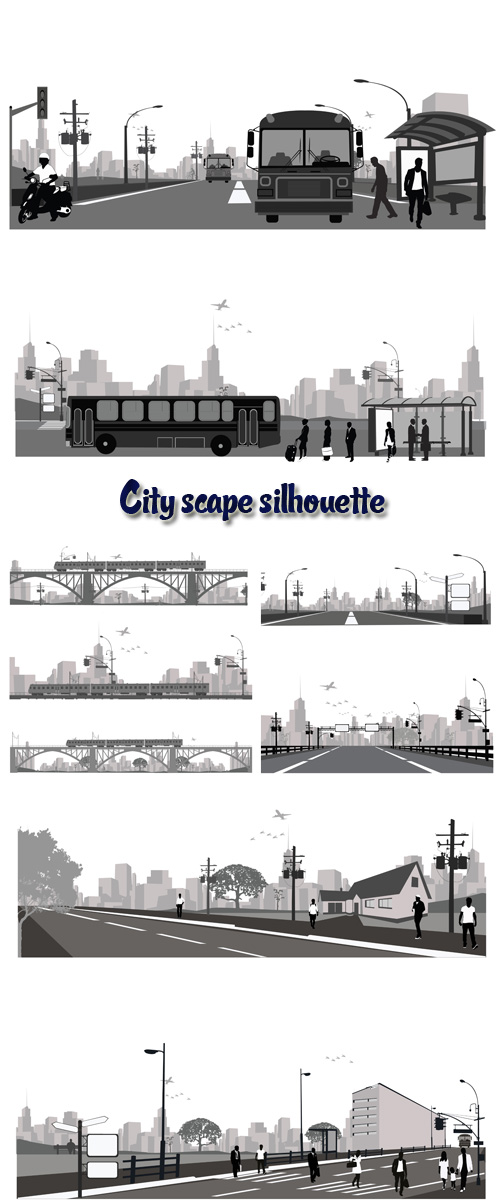 Stock: Vector illustration.City scape silhouette