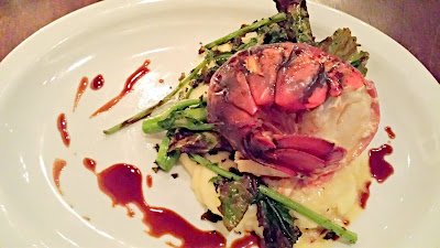 During the month of January, Brasserie Montmartre has been bringing Maine Lobster options at dinner every evening.  This entree is the Butter Poached Maine Lobster Tail with Lobster Mashed Potatoes, Broccoli Rabe, and Sauce Americaine