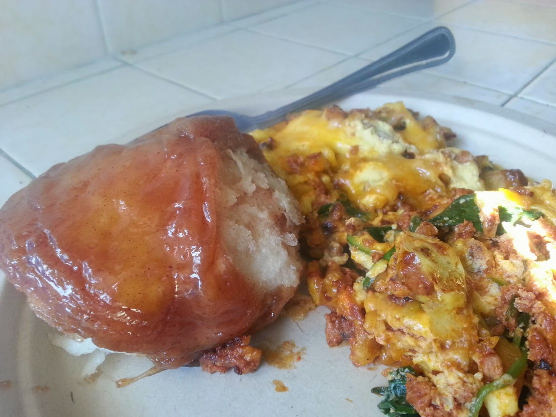 Sticky Bun and Chorizo and eggs with spinach and cheese