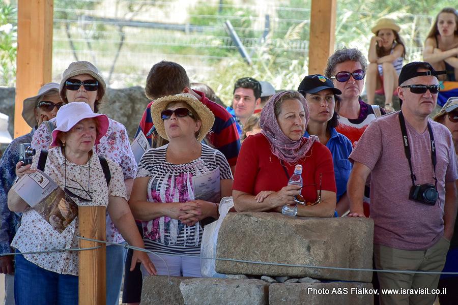 туристы на раскопках в Магдале. Гид Светлана Фиалкова.