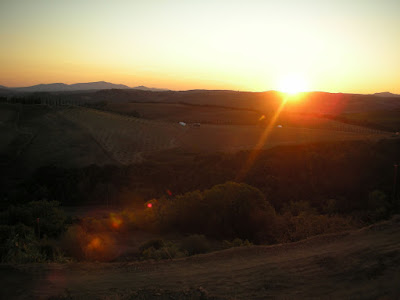 The sunset over the hills of Maremma, seen from Camigliano near Montalcino