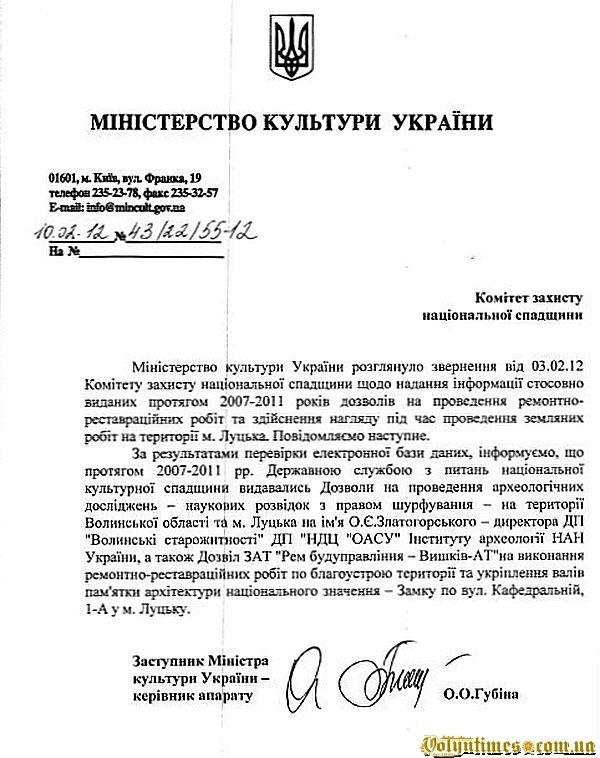 Відповідь Міністерства культури України від 10.02.2012 року