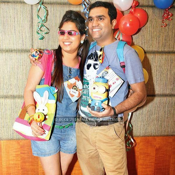 Nupur and Pankaj at Mahak and Pulkit Dua's kindergarten-themed party at a city hotel in Indore.