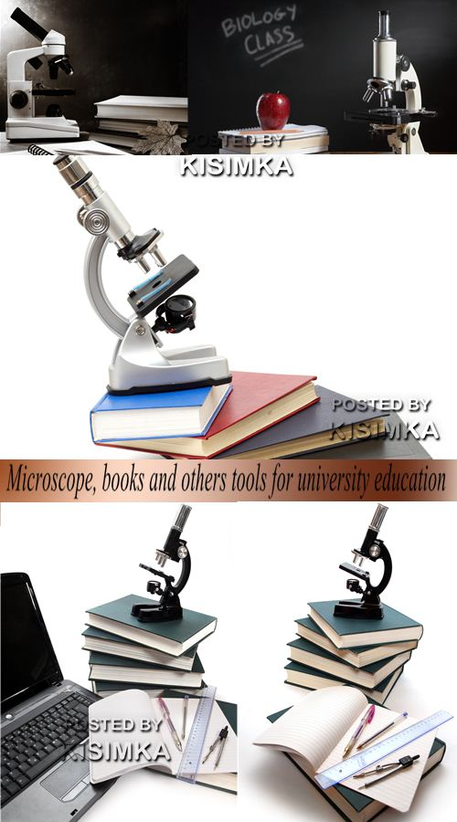 Microscope, books and others tools for university education