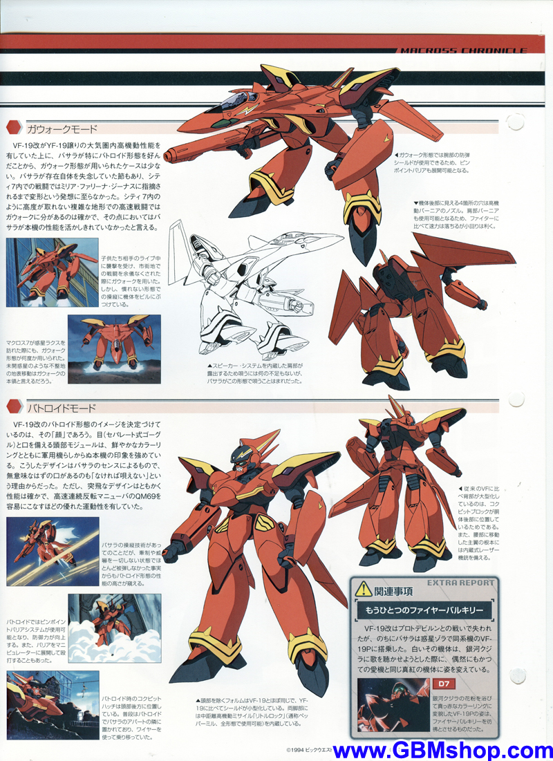 Macross 7 VF-19 Kai Excalibur Custom Fire Valkyrie (Sound Force) Mechanic & Concept Macross Chronicle