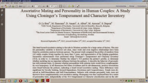 New Paper Assortative Mating And Personality In Human Couples