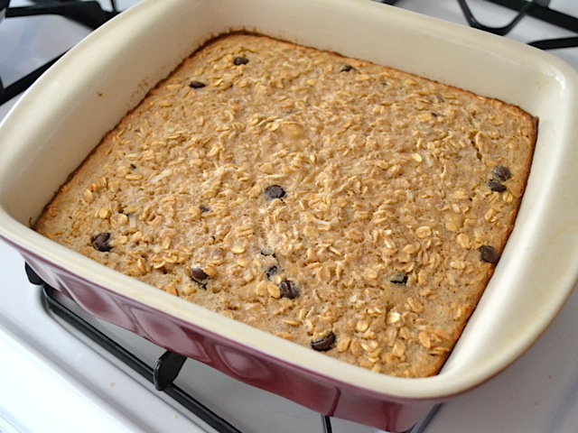 baked oatmeal in baking dish on stove top