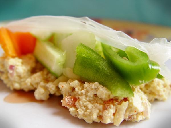 Tofu Scramble Salad Rice Paper Wraps