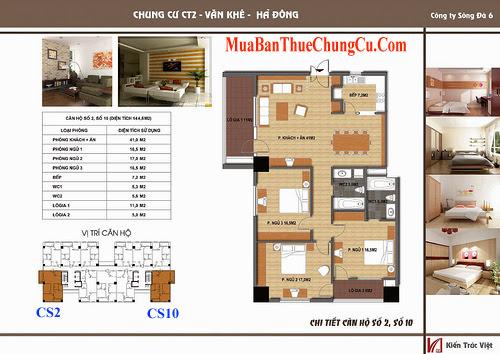 căn số 2,10 - 144.6m2 chung cư ct2 văn khê