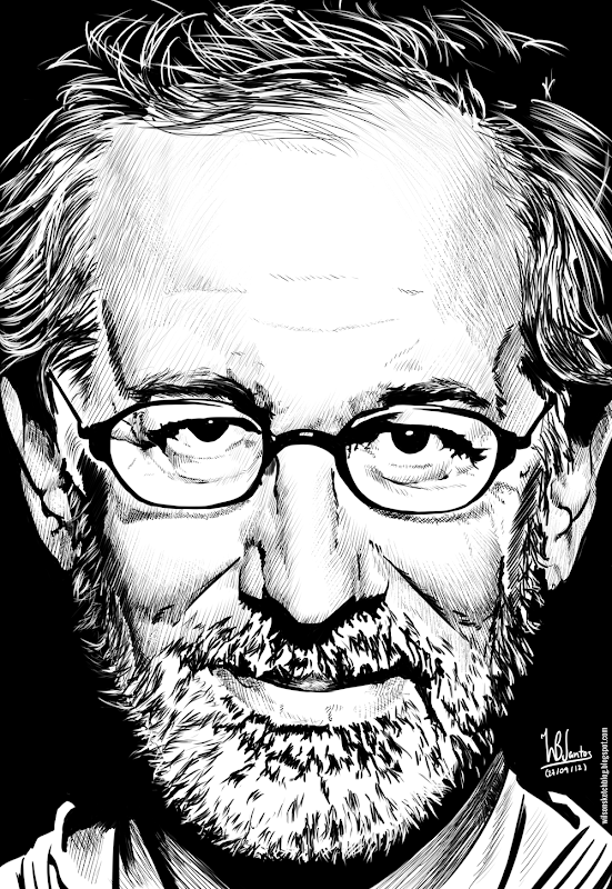 Ink drawing of Steven Spielberg, using Krita 2.4.