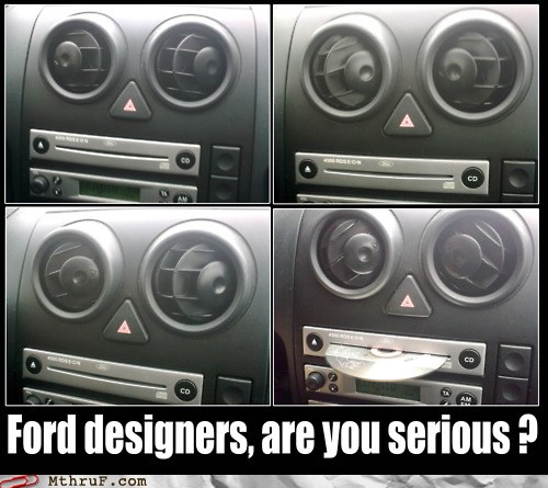 photo of an interior view of a Ford car vent and cd radio