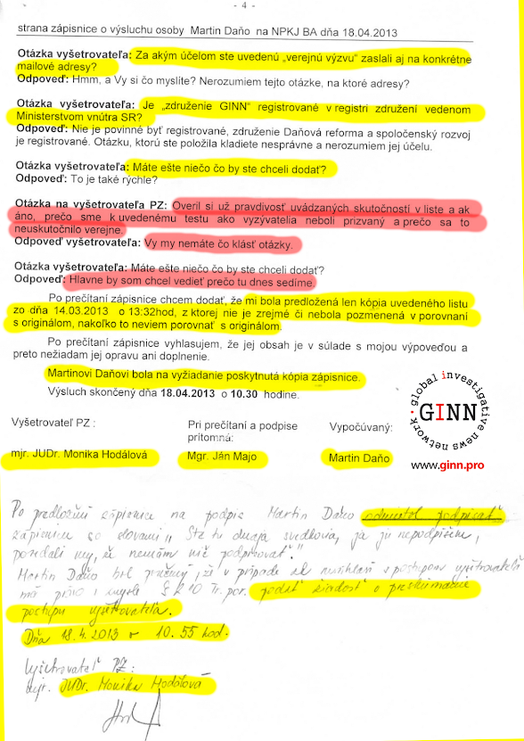 NAKA - zápisnica z výsluchu svedka 3