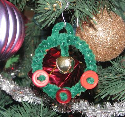 Button, Fuzzy stick wrapped Outgrown bangle Ornament