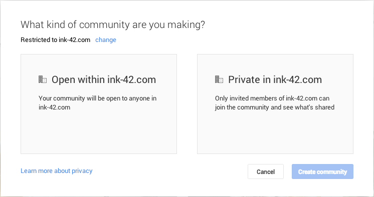 Google+ Restricted Communitys