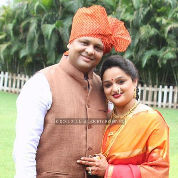Gitesh and Rutumbara Muttemwar at Sonam and Akshay Deshpande's  wedding ceremony at Swagat Lawns in Nagpur.