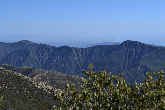 looking out over the much shorter Santa Ynez mountains to the Ventura coastline