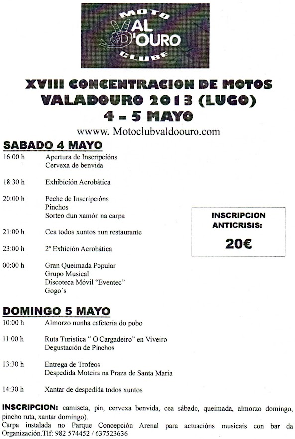 Cartel XVIII Concentración de motos Valadouro (Lugo) 2013