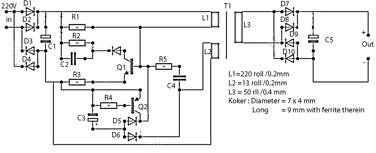 9v Output Switching Power Supply Electronic Circuit
