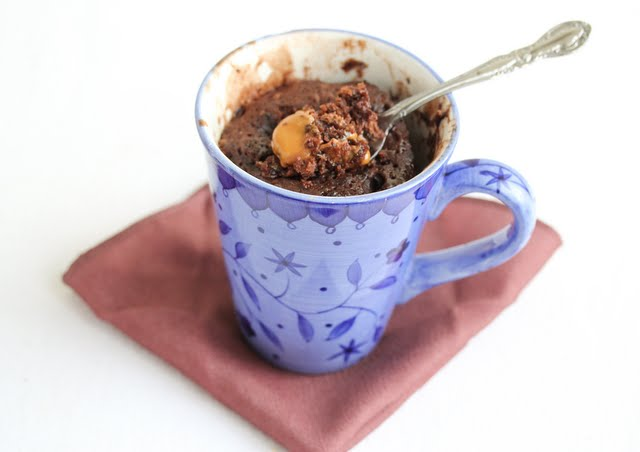 overhead photo of a Chocolate Caramel Mug Cake