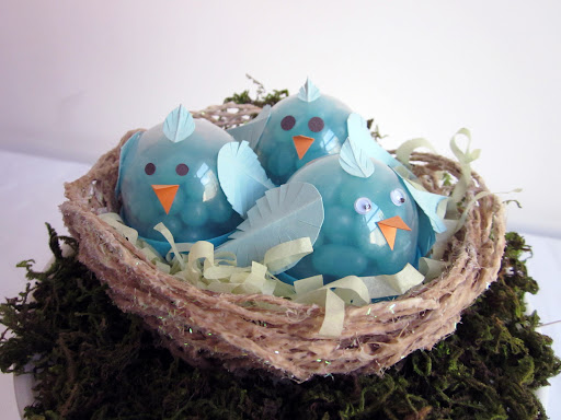 Place in a nest or a basket, or on a table setting.