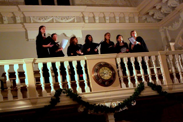 Choir singing at Formal Hall at Newnham College at Cambridge University