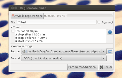 Audio Recorder su Ubuntu