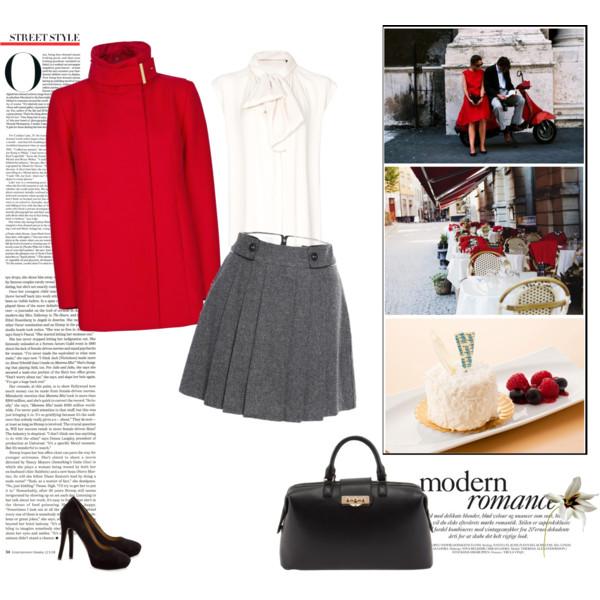 Dnevna kombinacija: Crveni kaput i plisirana suknja