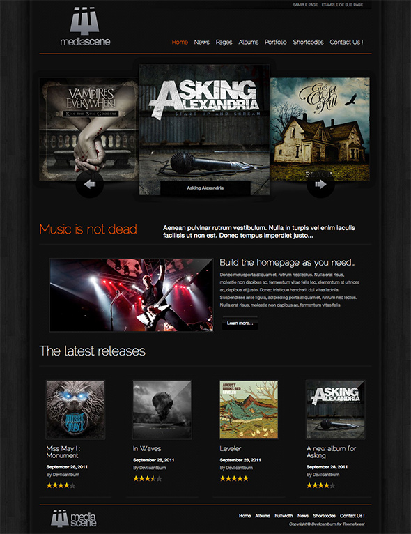 Media Scene WordPress Theme for Musicians