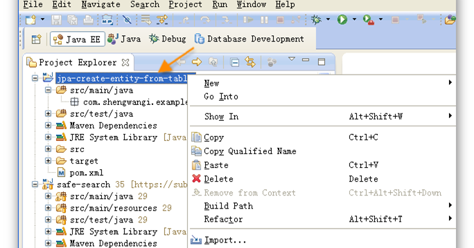 How to create Java classes from existing tables in database for JPA