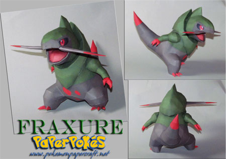 Pokemon Fraxure Papercraft