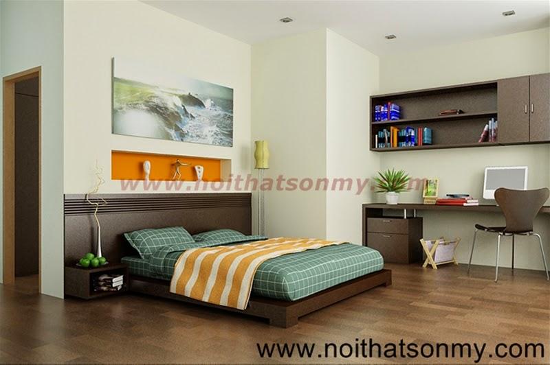 Giường ngủ gỗ đẹp màu đậm