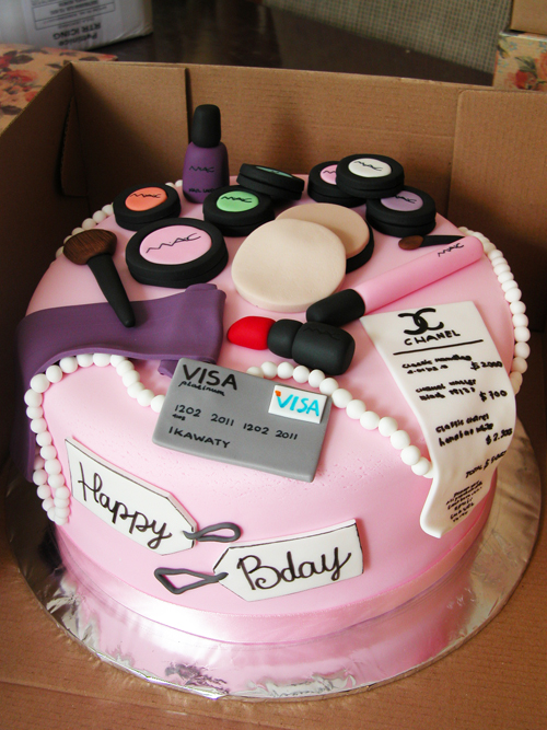 Awesome The Cake Shop Make Up And Shopping Theme Birthday Cake Funny Birthday Cards Online Aeocydamsfinfo