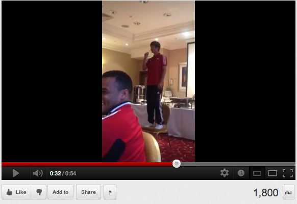 Contender for the most embarrassing moment of the year: Ki Sung Yueng performs a initiation song at Swansea
