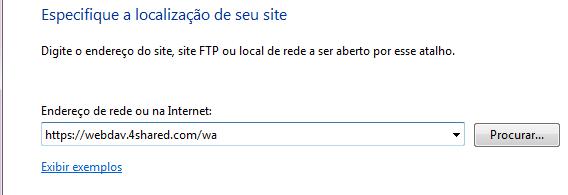 Insira o endereço do WebDav do 4Shared