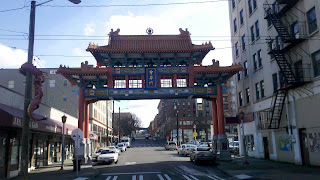 Ornate gate marking the western edge of Seattle's International Chinatown) District