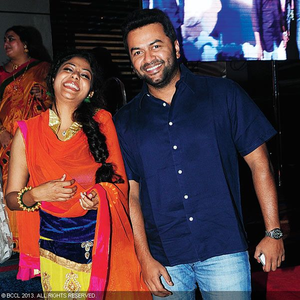 Poornima and Indrajith during Vinu Mohan, Vidya's wedding reception held in Kerala.