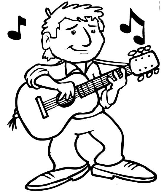 Guitarrista para colorear