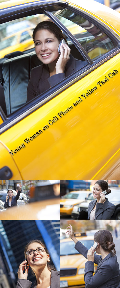 Stock Photo: Young Woman on Cell Phone and Yellow Taxi Cab