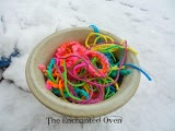 Bird nesting materials: Bowl holding yarn scraps