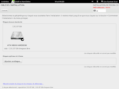 Capture d'écran de fedora 19 installation steps en mac