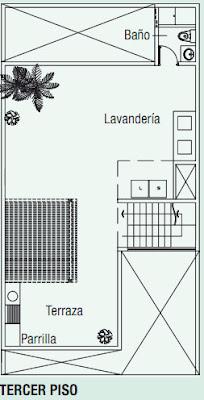 PLANOS DE CASA EN 120M2 CON DOBLE ALTURA via www.planosdecasas.blogspot.com