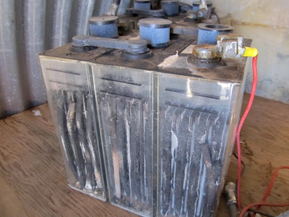 Batteries and other equipment remained inside the shack