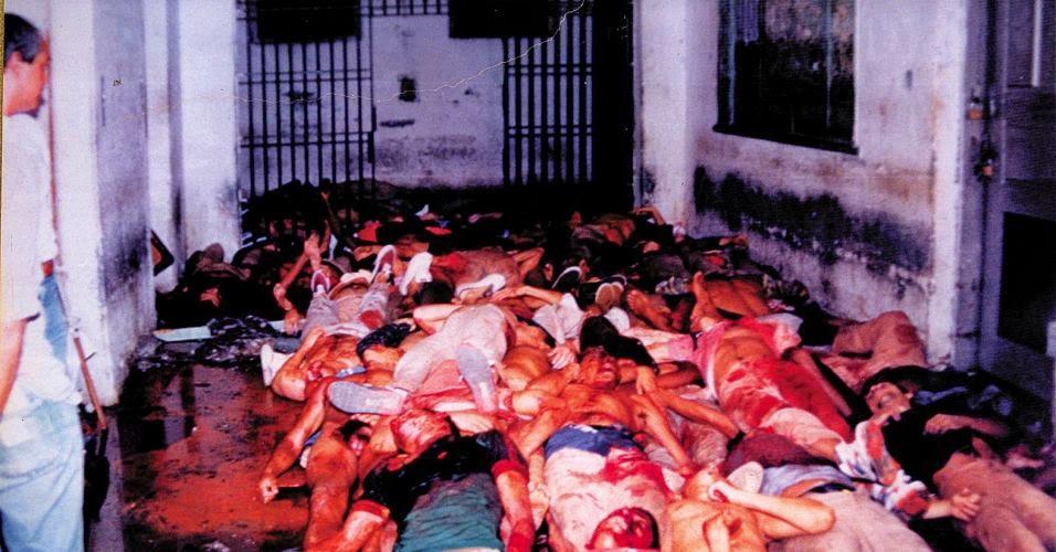 Registro pericial acerca de parte dos mortos do pavilhão 9. Fotografia: Niels Andreas/Folhapress.