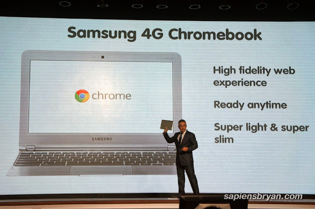 CEO of Yes4G, Wing K. Lee, revealing the first ever Samsung 4G Chromebook