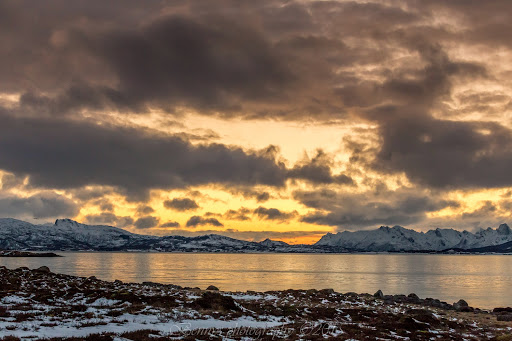 sunset, north of the Arctic Circle, Norway. Photographer Benny Høynes
