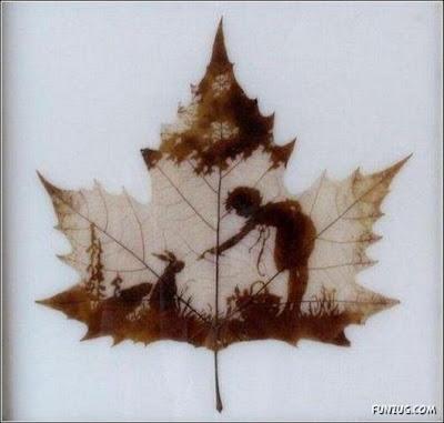 انقش صــورة تحــب الشجــر.. غاية الروعة leaf_painting_art_03