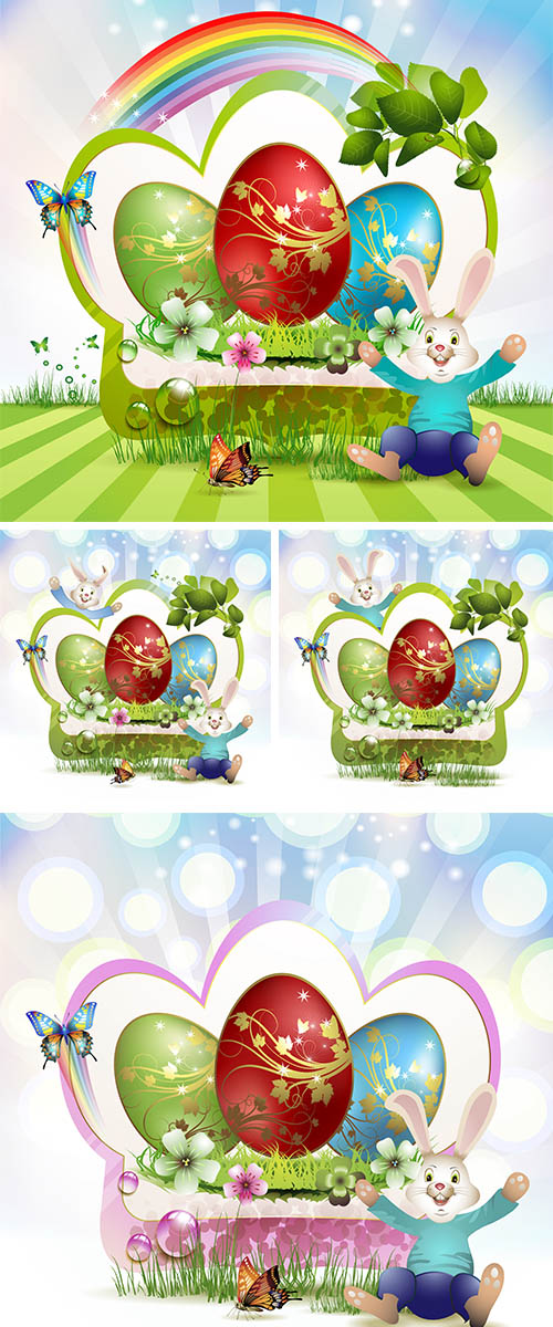 Stock: Easter card with bunny and eggs